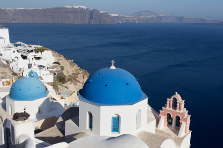 Santorini Island - view of the white city and the blue sea
