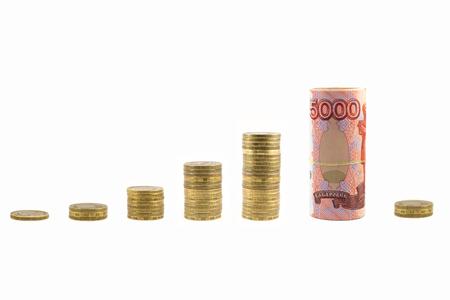crisis economica: Graph rising and falling money. Economic crisis