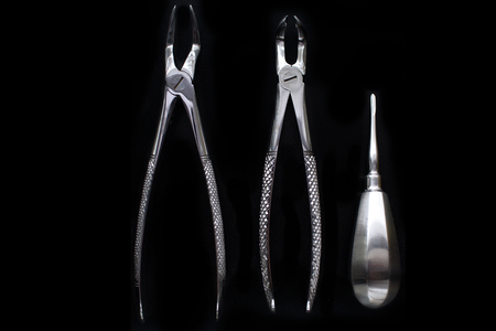 tooth extraction: Set of metal dental tools for tooth extraction.