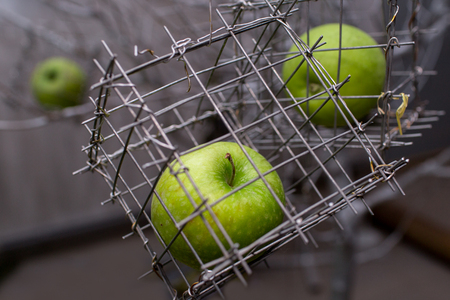 Green apple in a steel cage. Close-up
