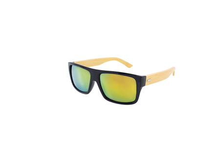 Wooden mirrored sunglasses isolated over the white background.
