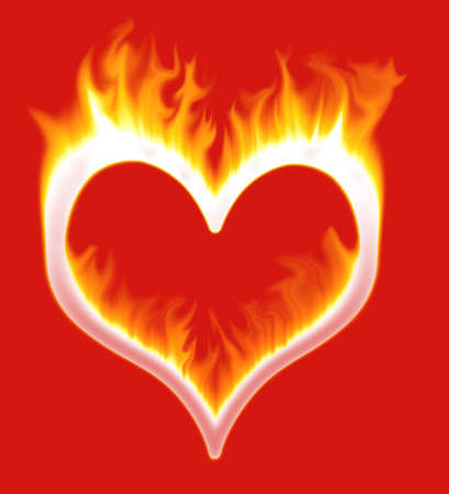 A heart shape on fire on a red background