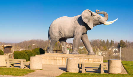 Large elephant statue that serves as the town monument to St Thomas Ontario, Canada.