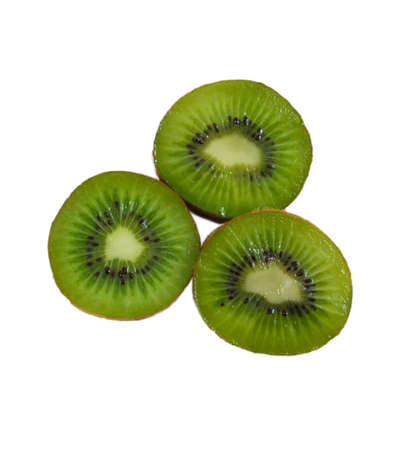 that: Three kiwis that sparkle isolated on a white background Stock Photo