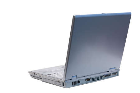An isolated silver laptop facing back left on a white background Stock Photo - 1312866