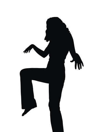 tough: Tough girl silhouette ready for fighting action Stock Photo