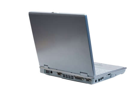 An isolated silver laptop facing back right on a white background
