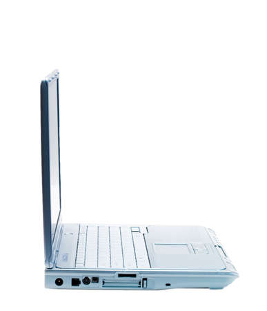 An isolated silver laptop facing right on a white background