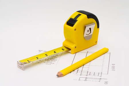 Maßband um jedes Bauvorhaben zu veranschaulichen Standard-Bild - 1364883