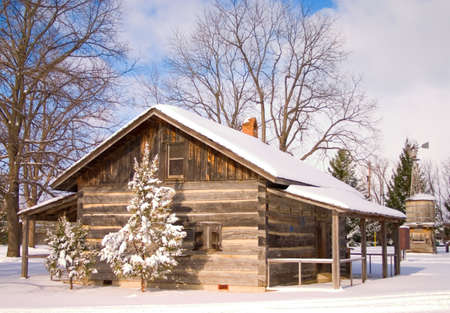 Snowy Cabin Stock Photo