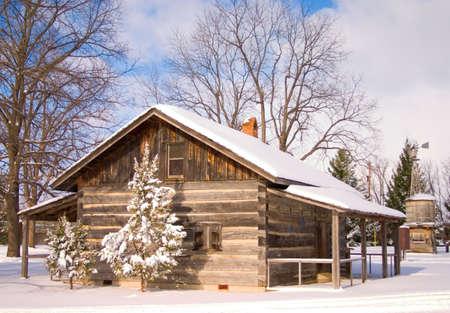 log cabin winter: Snowy Cabin Stock Photo