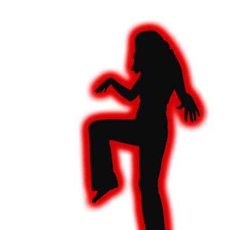 tough: Retro tough girl silhouette ready for fighting action