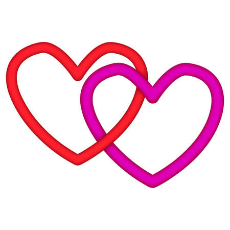 linked: Linked red and pink hearts symbolic of lovers for valentines day