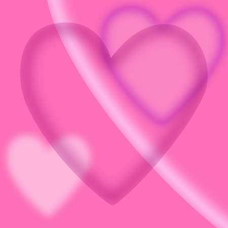 Pink valentines day background with different colored hearts