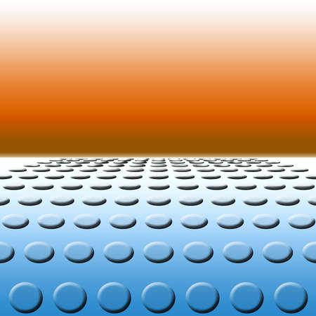 Illustratie gebaseerd op een luchtbel polkadot weg naar de horizon