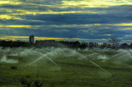 an automated irrigation system Stock Photo