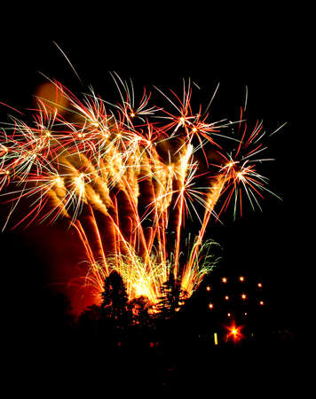 new years day: Colorful fireworks display at night for celebrating