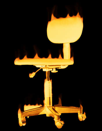 Glowing burning chair that has flames on it