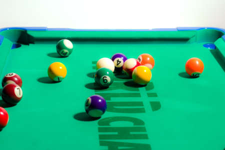 Game of pool being played on felt table photo