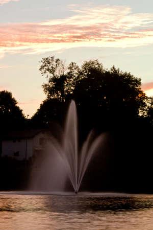 A fountain spraying a fine soft mist