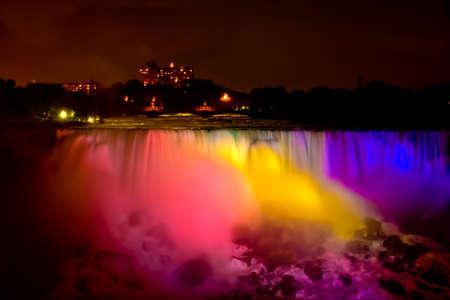 Niagara Falls at night in rainbow colors (The Horseshoe falls) Stock Photo - 8874684