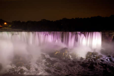 Niagara Falls at night in rainbow colors (The Horseshoe falls)