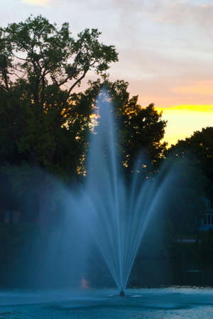 A fountain spraying a fine soft mist
