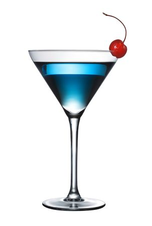 cocktail glasses: One blue cocktail martini