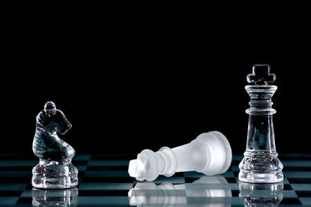 strategical: Strategic games; chess; victory during end game Stock Photo