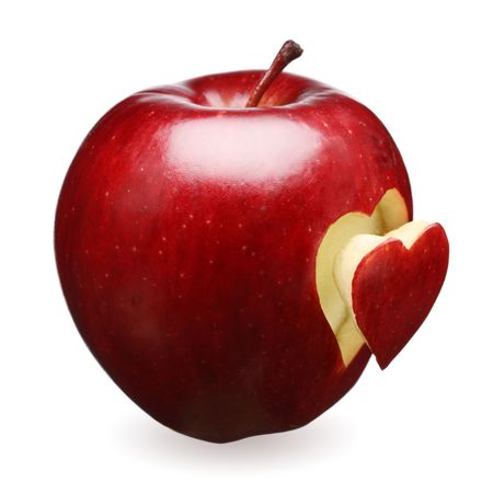 Red apple with a heart symbol against white background