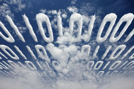 Binary code transfer in a cloudy sky - concept of electronic communication and information