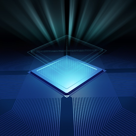 CPU background design with blueprint and radial light Stock Photo - 8293714