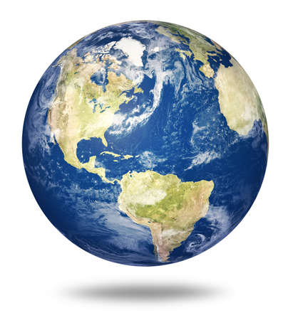 blue earth: Planet earth on white background - America view