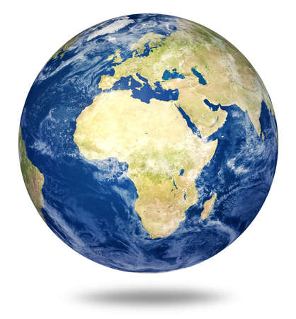 Planet earth on white - Africa and European view