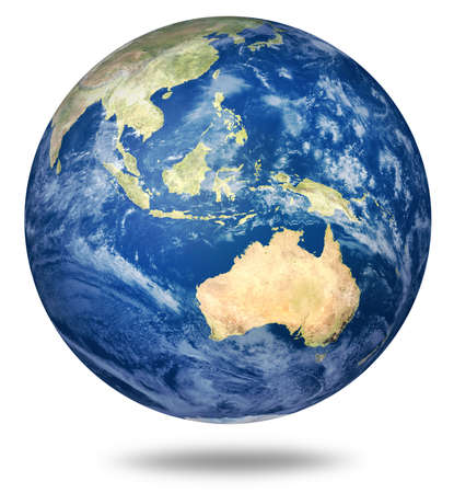 Planet earth on white - Australia and Asian view Stock Photo - 8704115