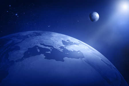 Earth and moon in deep space - Africa and Europe  3D Stock Photo - 8903841