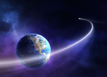 Comet passing in front of planet earth  3D u  Stock Photo - 8903840