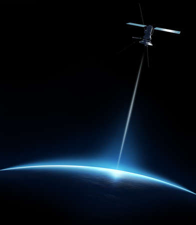 light beams: Communication satellite beaming a signal down to earth