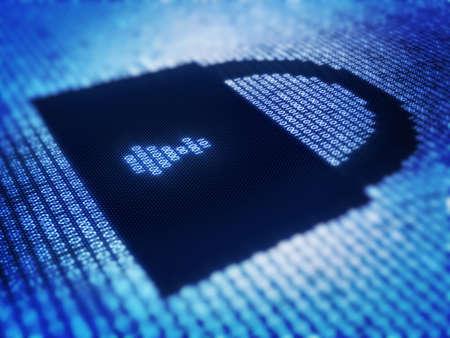 integrit�: Codice binario e blocco sul dettaglio pixellato sullo schermo - 3d rendering con attenzione selettiva