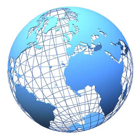 grid: Modello wireframe e terra solido isolata on white (modello di mesh 3d derivato da fonte mappa-http:visibleearth.nasa.gov)
