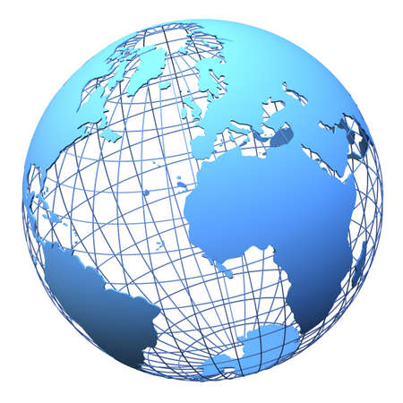 globe grid: Solid wireframe and earth model isolated on white (3d mesh model derived from source map- http:visibleearth.nasa.gov)