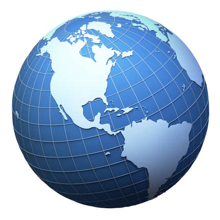 grid: Modello di pianeta terra isolata on white - vista America (mesh 3D derivato da http:visibleearth.nasa.gov)