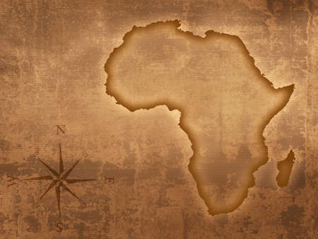 derived: Africa map designed on old grungy and stained paper (Map derived from http:visibleearth.nasa.gov )