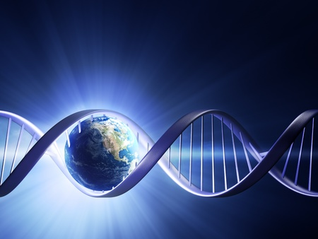 Abstract render of earth inside a glowing DNA strand ( earth uv map from http://visibleearth.nasa.gov ) Stock Photo - 10850526