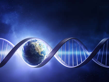 csigavonal: Kivonat render föld belsejében egy izzó DNS-szál (föld uv térképet http:visibleearth.nasa.gov)