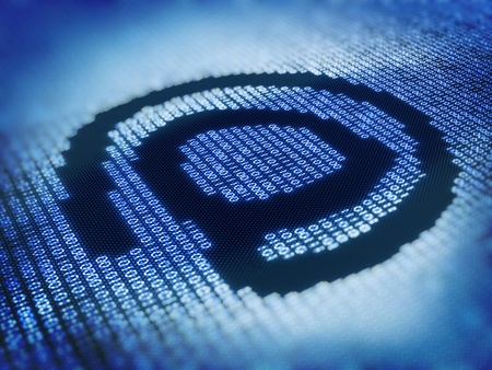 Internet At Sign - Designed with Pixellated Binary Code - 3d Render Stock Photo - 12022075