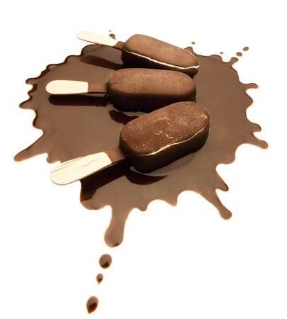 Ice Cream Chocolate Bars on a Chocolate Splash - Isolated photo
