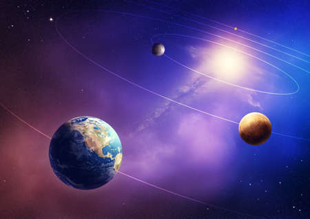 Inner four solar system planets  Elements of this image furnished by NASA- earthmap  http   visibleearth nasa gov  photo
