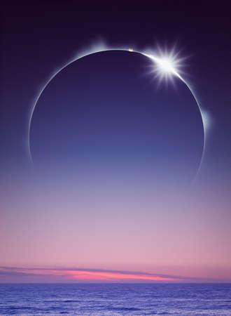 合計: 海のデジタル アートの上に見えるフル日食