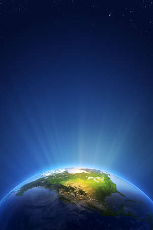 world globe map: Earth Radiant Light Series Stock Photo